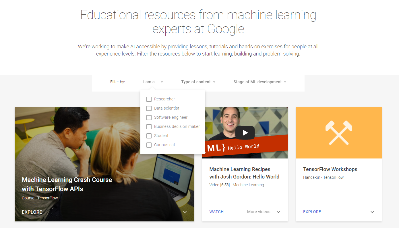 Google launches online AI learning and Machine learning website for all